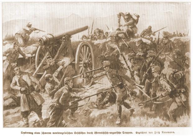 Аустроугарска илустрација битке са црногорским војницима