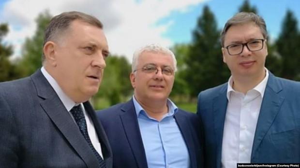 Andrija Mandić, Aleksandar Vučić i Milorad Dodik