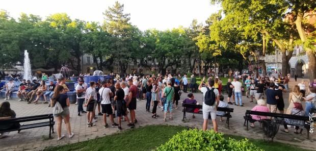 Грађани код Плаве фонтане у Суботици
