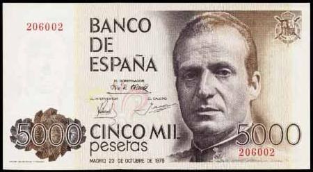 Lik Huana Karlosa nalazio se na novčanici od 5.000 peseta
