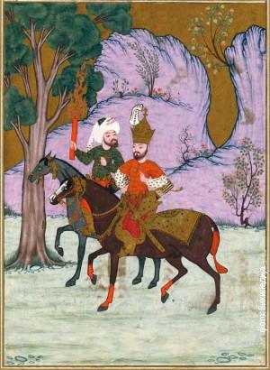 """Aleksandar Makedonski (Iskadar) i Kidr ulaze u Tamni vilajet, osmanska minijatura iz """"Knjige sreće"""" (1582)"""