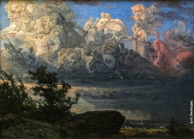 """Uroš Predić, """"Vizija u oblacima"""" (1878)"""
