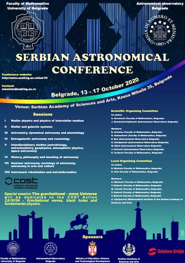 Konferenciju organizuju beogradski Matematički fakultet i Astronomska opservatorija