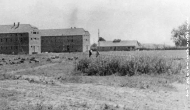 Zgrada iz koje je učinjen proboj poslednjih jasenovačkih zatočenika 22. aprila 1945.