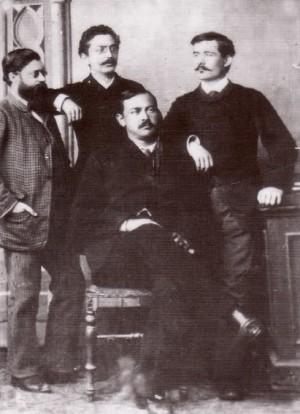 Јанко Веселиновић (седи), Владимир Јовановић, Милорад М. Петровић Сељанчица и Антун Густав Матош