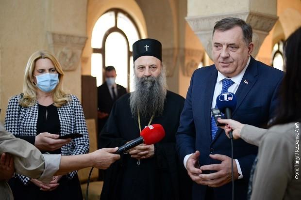 Željka Cvijanović, patrijarh Porfirije i Milorad Dodik